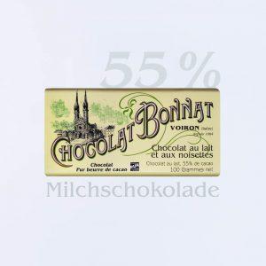 Bonnat Milchschokolade mit Haselnüssen 55 %