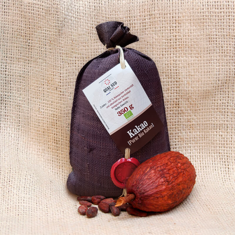 Quai Sud Bio Kakao ohne Zucker im Raffiabeutel