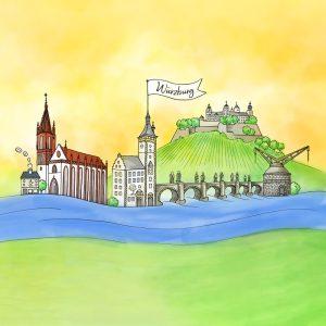 Bunte Zeichnung von Würzburger Wahrzeichen